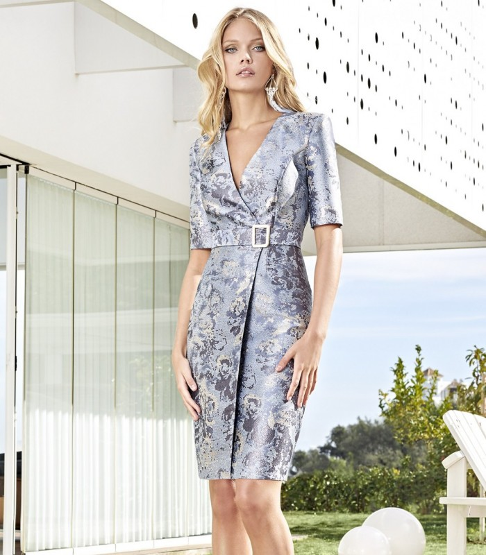 Printed wrap dress with buckle belt and 3/4 sleeves