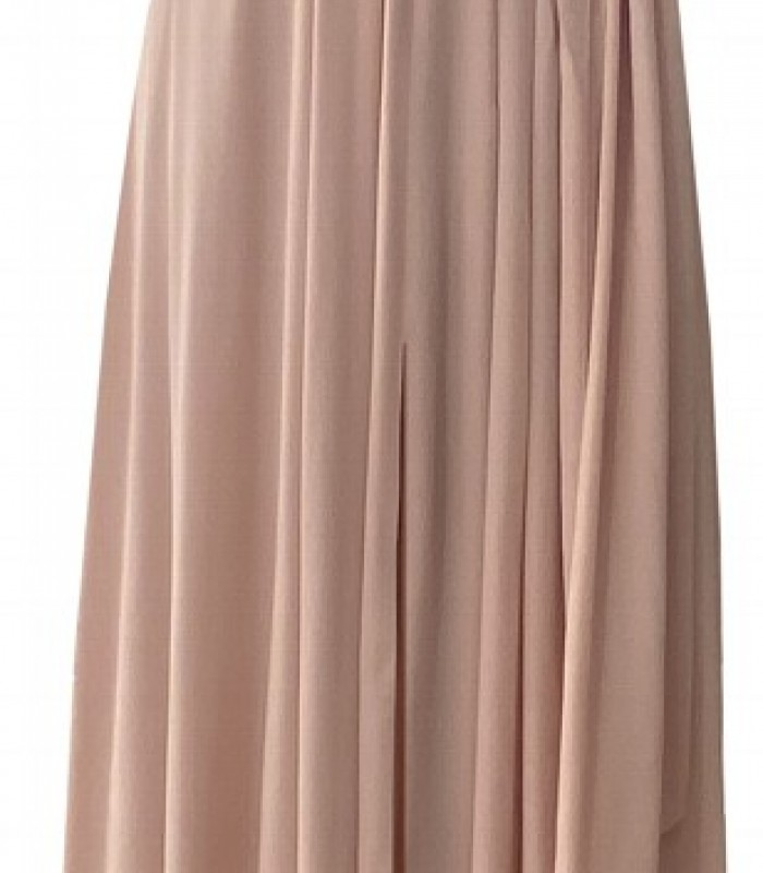 Halter neckline dress with open back and center opening