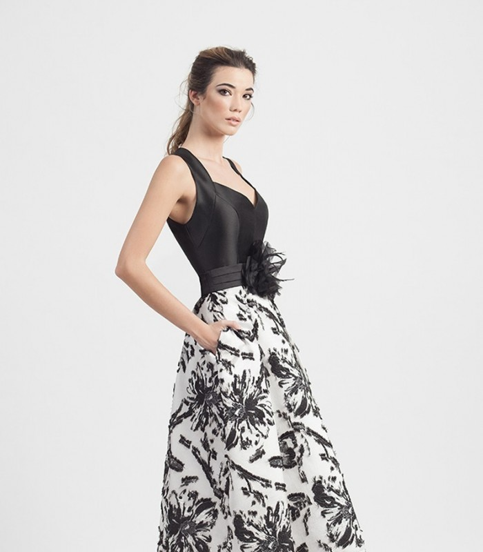 Long dress with pink top and printed skirt