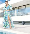 Long dress with crossover neckline with belt and side slit