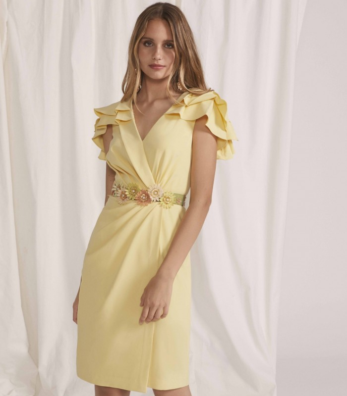 Wrap neckline dress with ruffle sleeves and flower belt