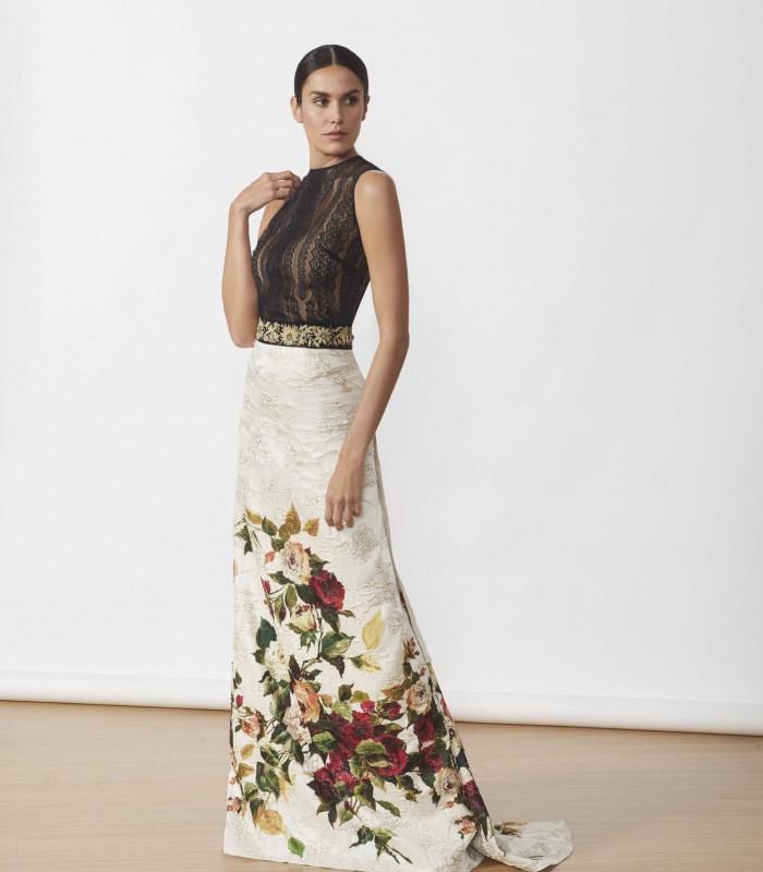 Vestido largo brocado con top de encaje forrado y estampado floral