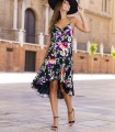Floral print midi dress with wrap neckline and ruffles
