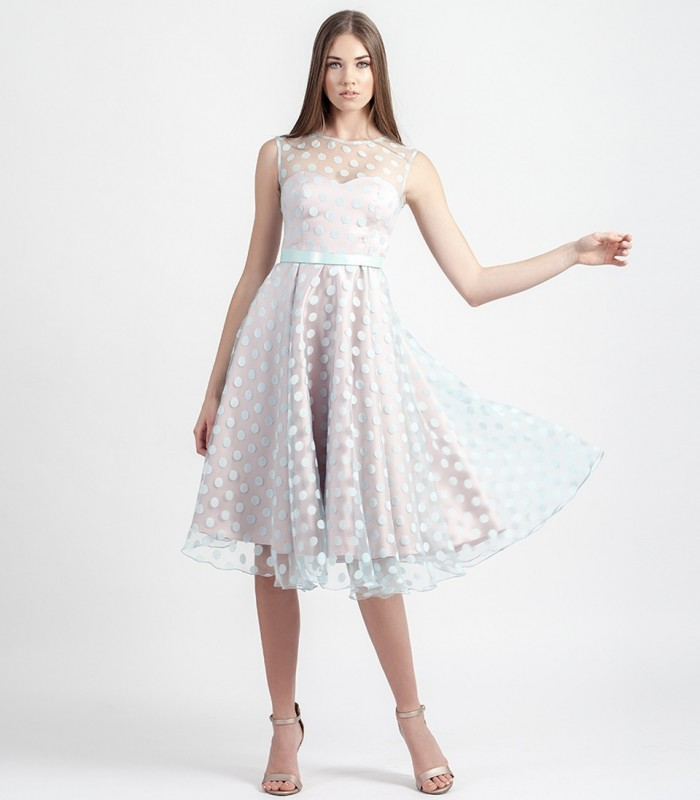 Polka dot midi dress with sweetheart neckline
