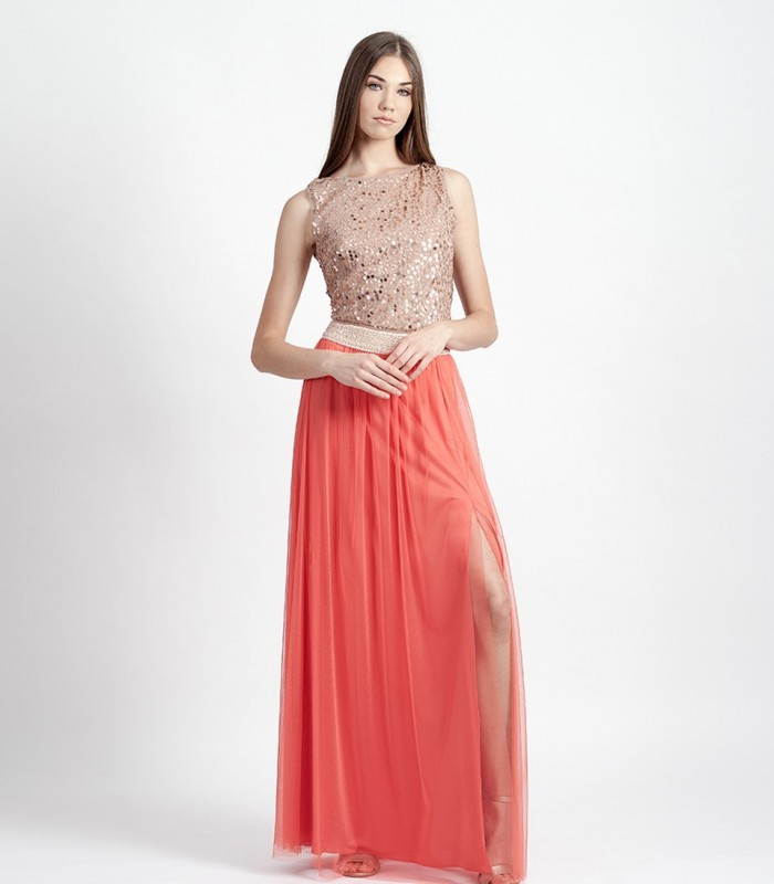 Long tulle skirt with side slit and sparkly trim