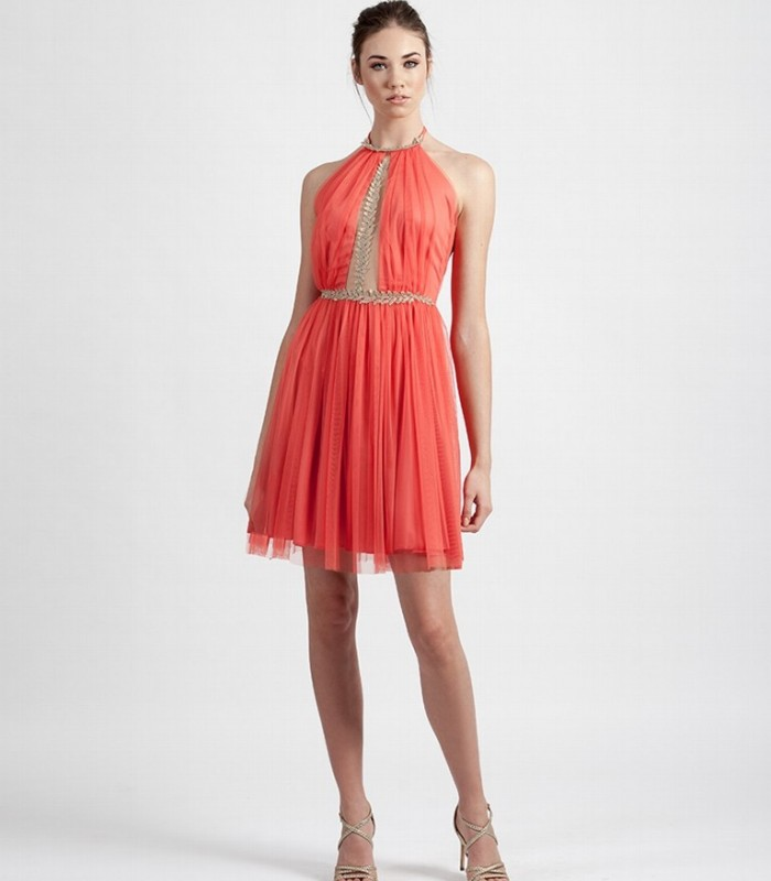 Short flared dress with tulle and halter neckline