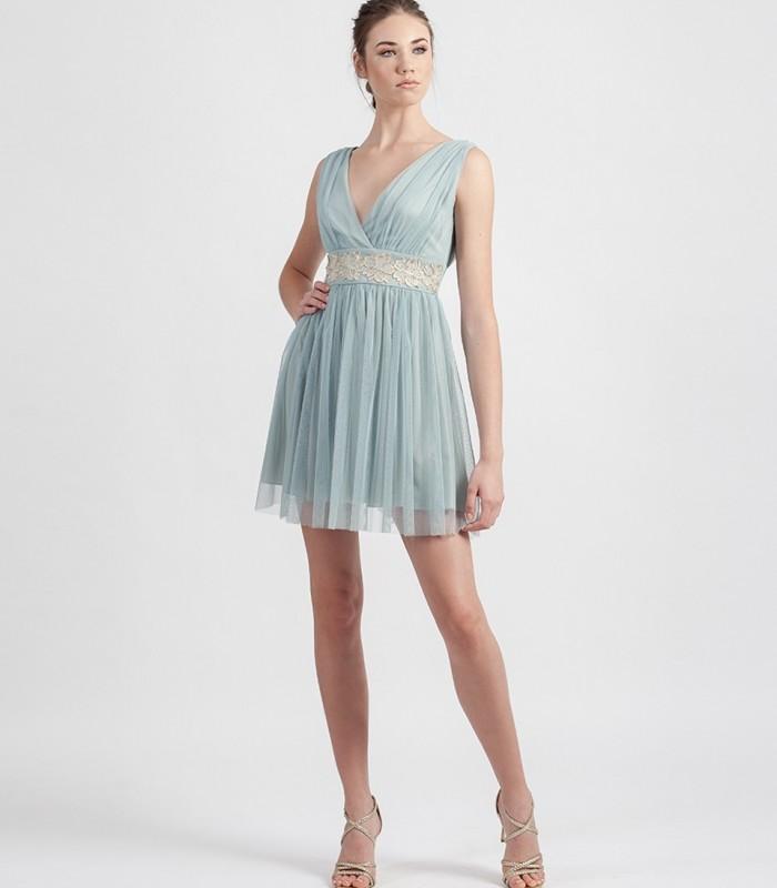 Short aqua green tulle dress with wrap neckline