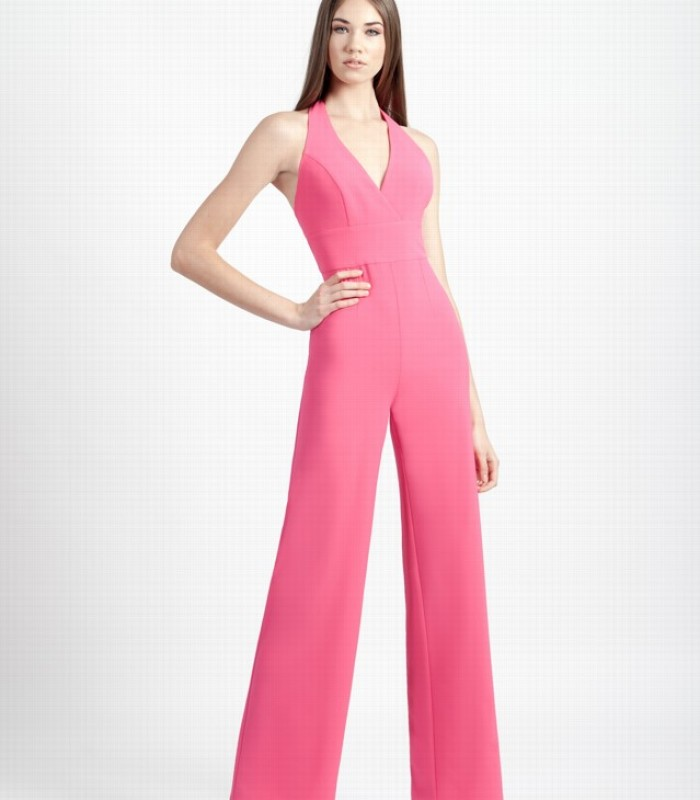 Halter neck long jumpsuit with open back