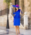 Short straight dress with peplum and ruffle sleeves