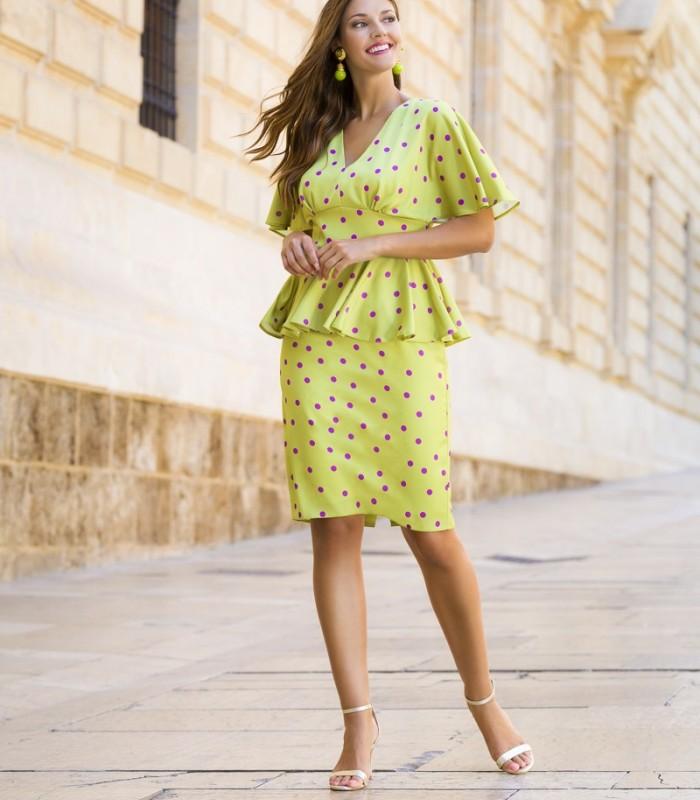 Midi polka dot dress with peplum and ruffle sleeves