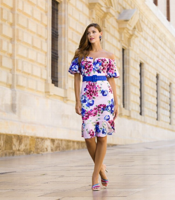Floral print dress with bateau neckline and puff sleeves