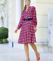 Geometric print midi dress with buttons and belt