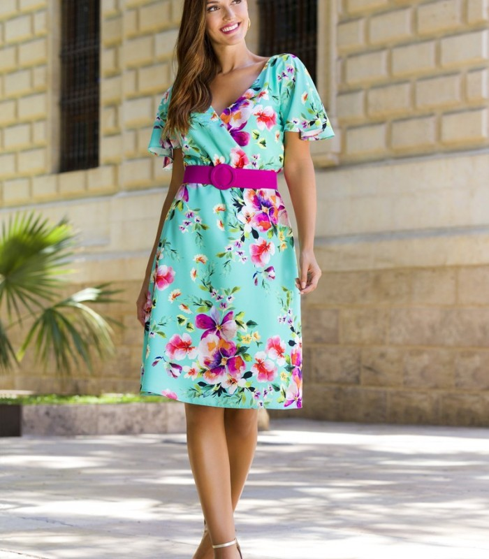 Floral print dress with crossover neckline and belt
