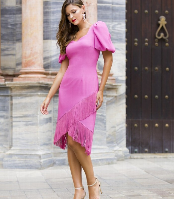 Fringed dress with sweetheart neckline and short gigot sleeves