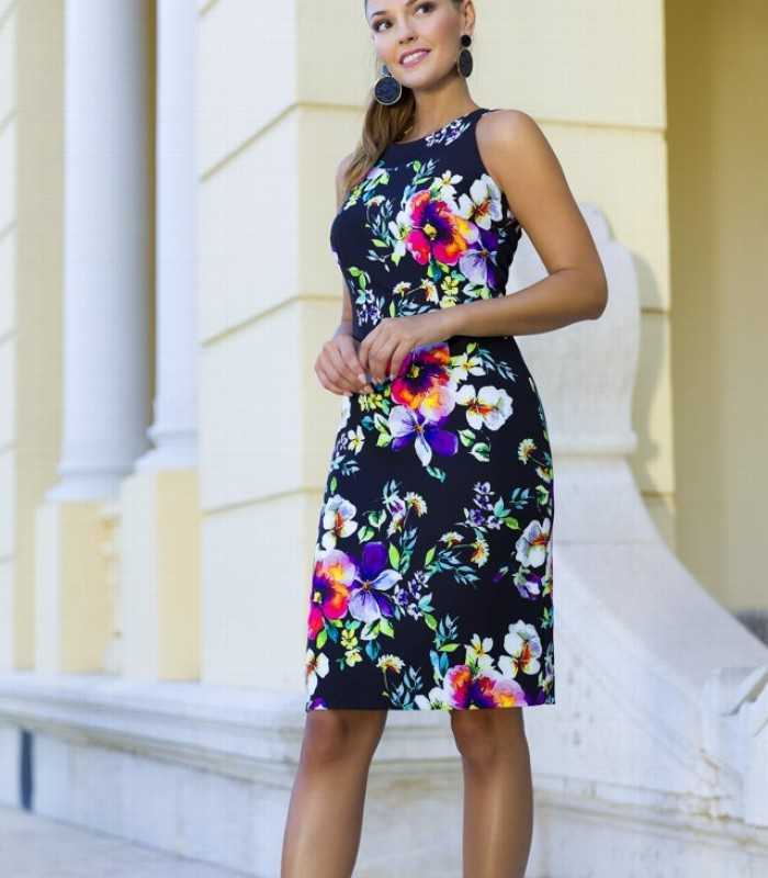 Floral print midi dress with short sleeves and straight cut
