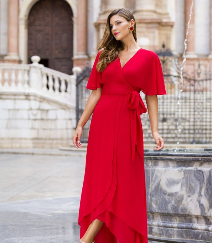 Asymmetric wrap dress with ruffle sleeves and bow