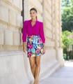 Short floral print skirt with buckle belt