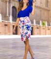 Printed ruffle skirt with bow and side slit