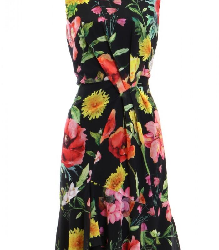 Printed dress gathered at the waist