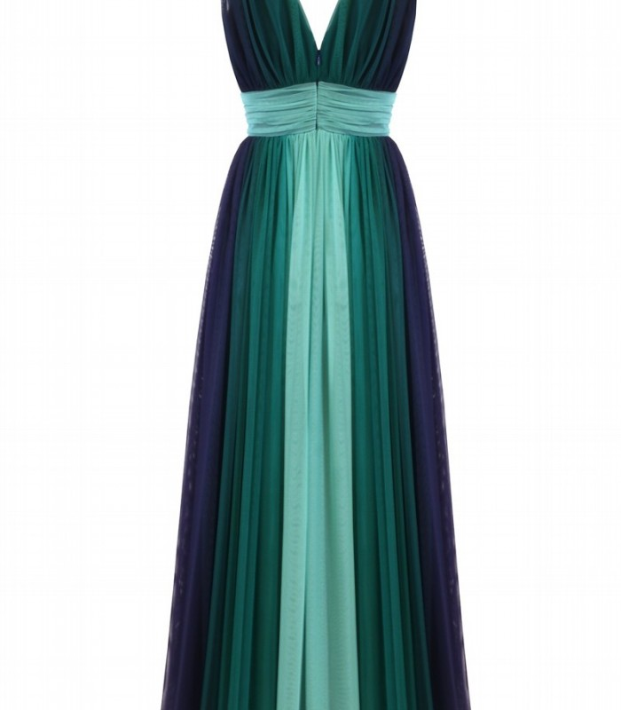 Long tulle dress with deep neckline