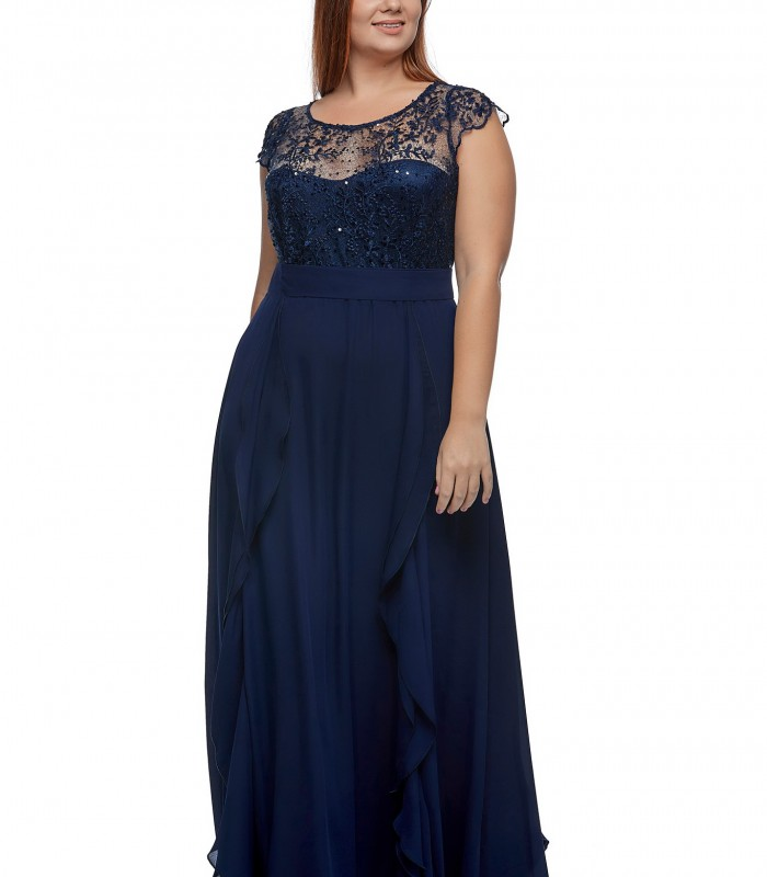 Vestido largo azul marino de escote corazón con transparencia