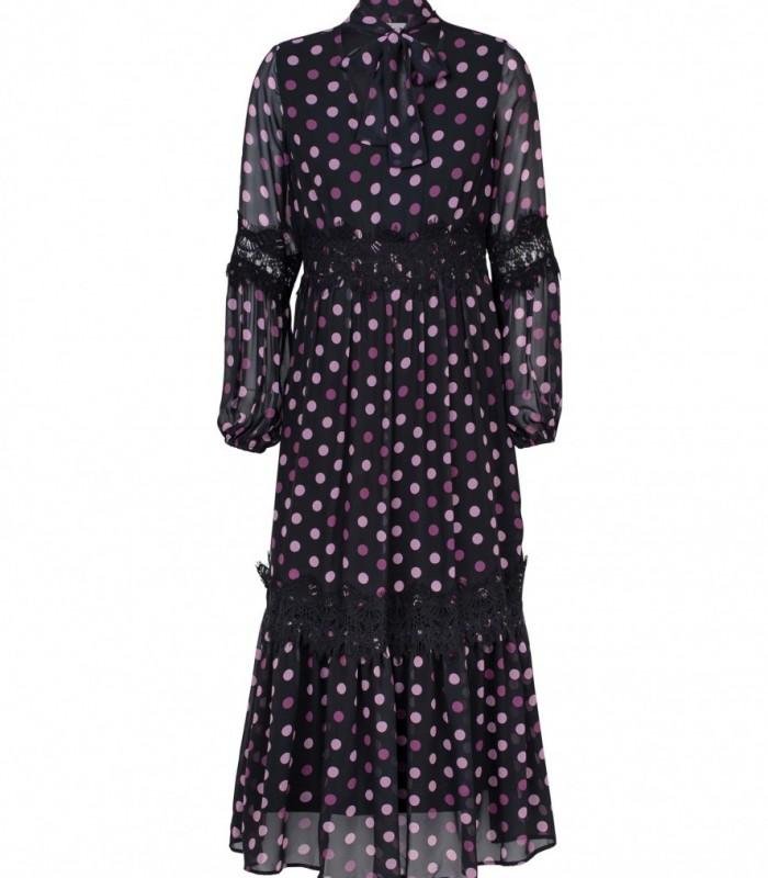 Vestido largo de lunares con detalles de encaje
