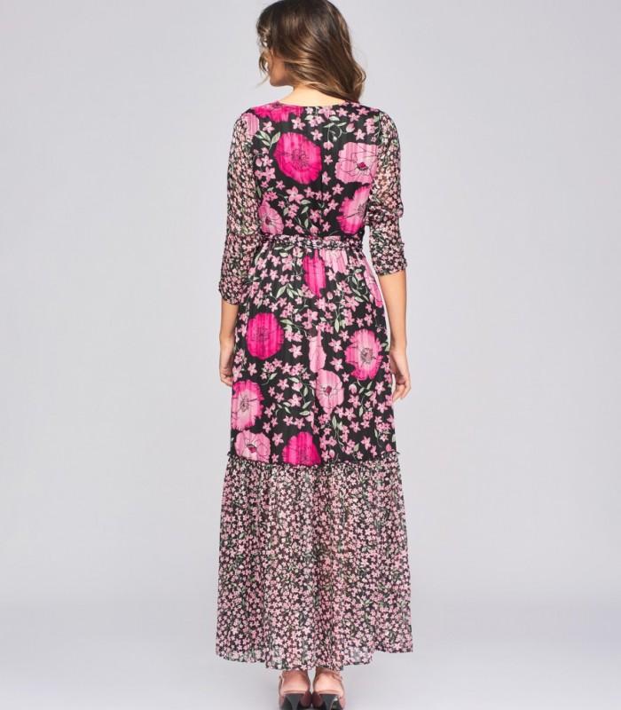Vestido largo estampado combinado de cuello pico con bordado de pedrería