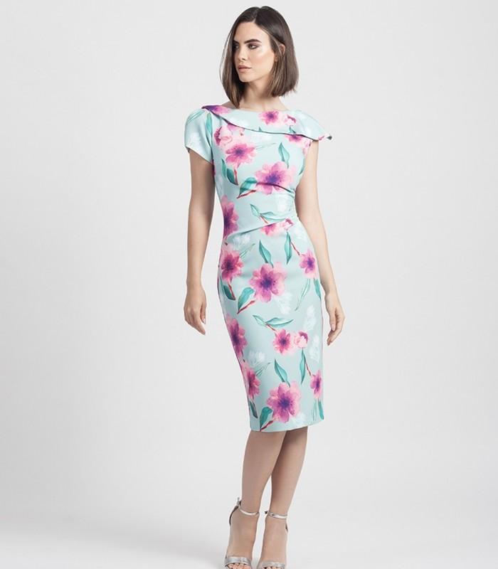 Vestido corto de estampado floral con volante asimétrico y fruncido