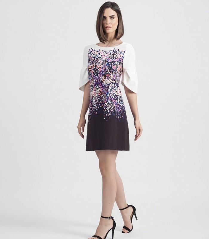 Vestido corto de estampado colorido y manga francesa