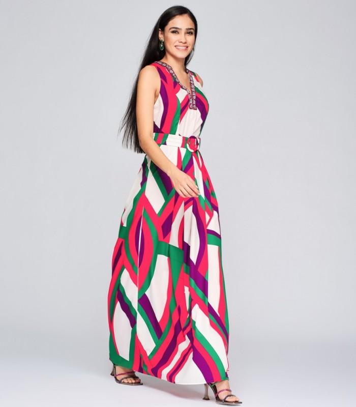 Long geometric and striped print dress