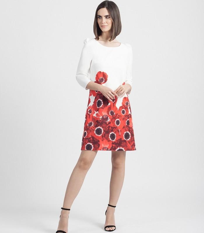Vestido midi de flores con manga francesa y escote redondo
