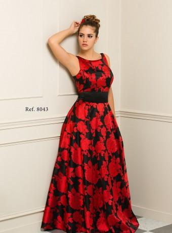 Vestido Largo Rojo Negro