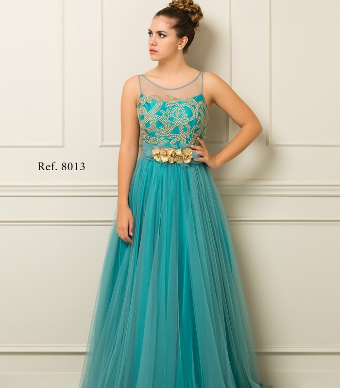 Maxi dress with transparency in tull