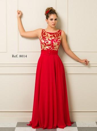 Vestido Largo Oro y Rojo
