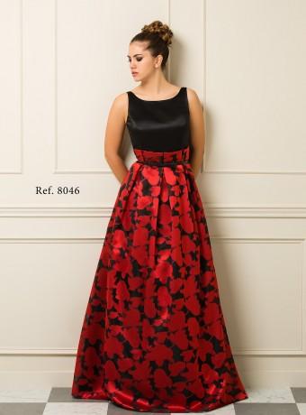Vestido Largo Negro y Rojo