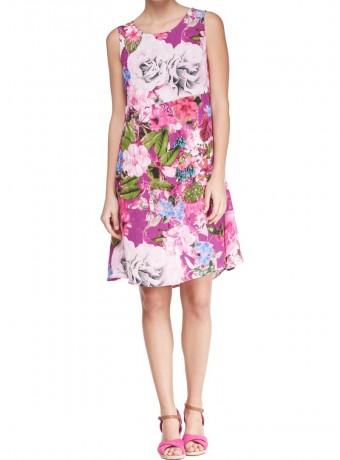 Vestido recto de flores sin mangas