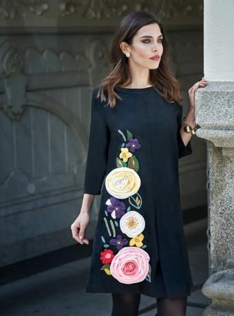 Vestido negro flores bordada