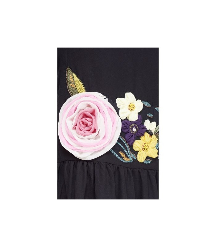 Black dress with floral applique