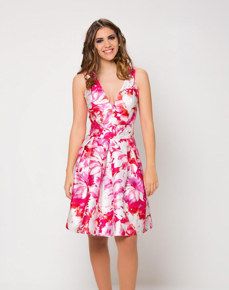 Vestido escote profundo de vuelo y estampado floral - Comprar Online