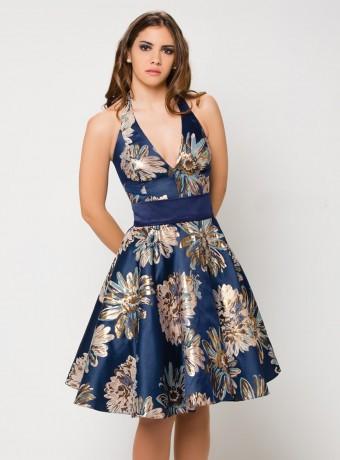 Vestido estampado azul de raso