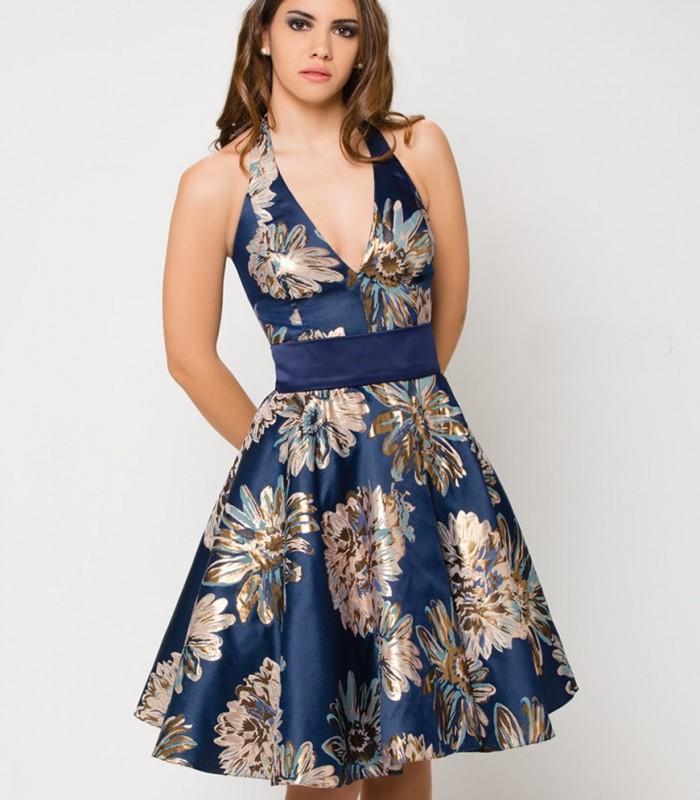 Vestido estampado azul de raso para mujer