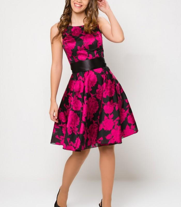 Vestido floral sin mangas ajustado a la cintura