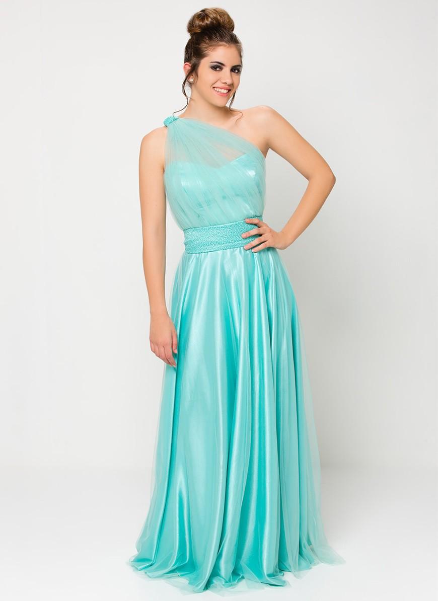 Asymmetric green water maxi dress - Shop Online