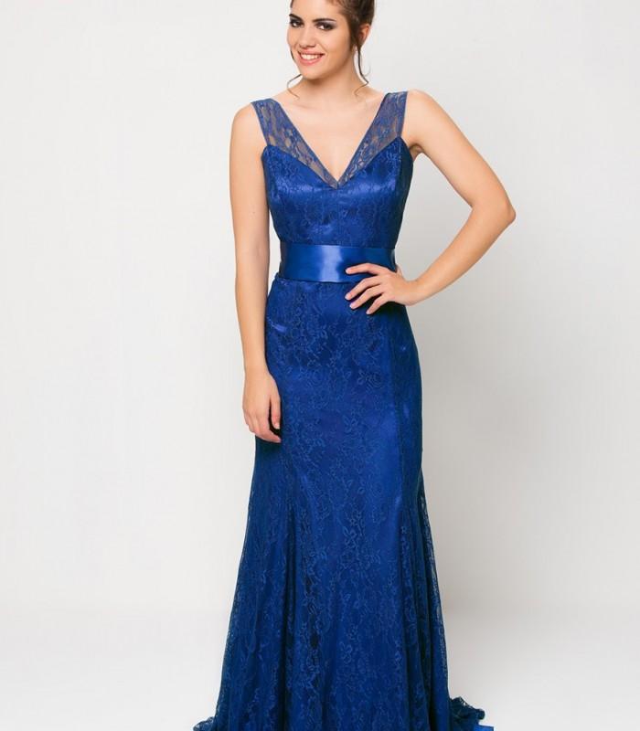 vestido largo azul de blonda
