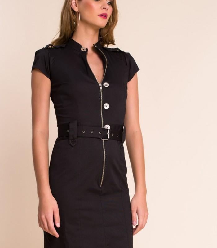 vestido veronica negro con cremallera