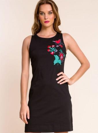 Vestido Simona negro bordado