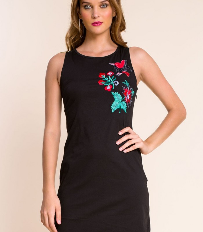 Dress Simona black embroidery