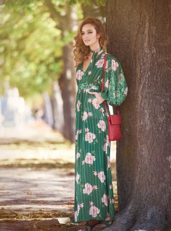 Green maxi dress with floral print