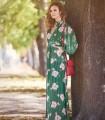 Vestido Niza largo verde estampado en flores