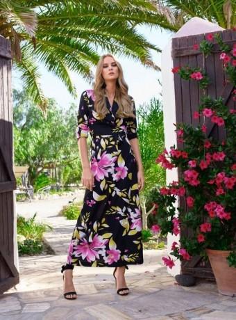 Vestido Almatrichi Camila largo negro estampado con flores rosas y amarillas